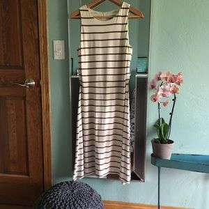 Ann Taylor White and Tan Striped A-line Dress